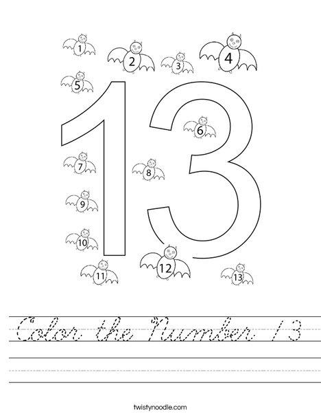 Color the Number 13 Worksheet