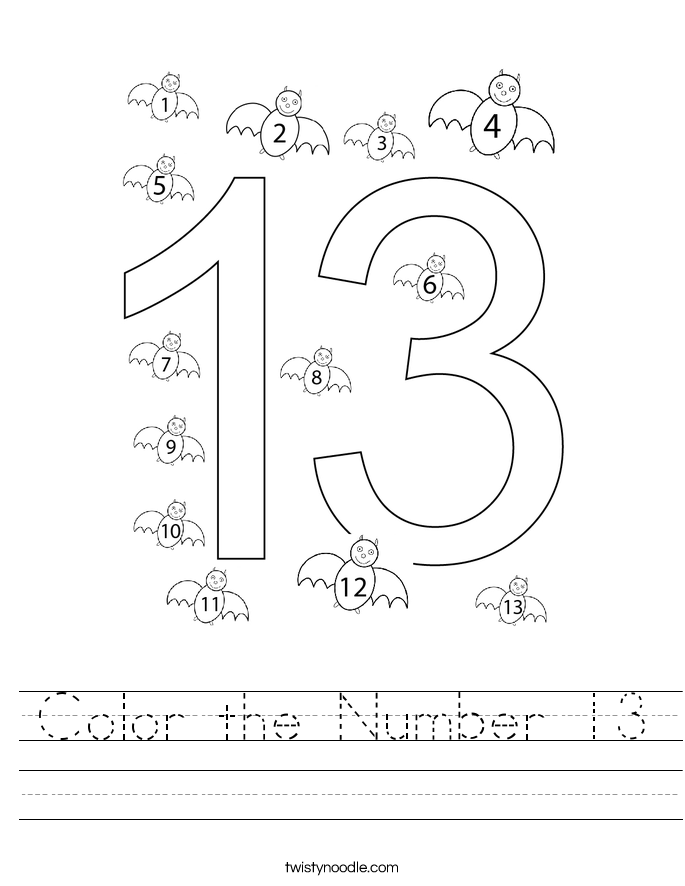 Color the Number 13 Worksheet