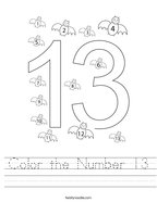 Color the Number 13 Handwriting Sheet
