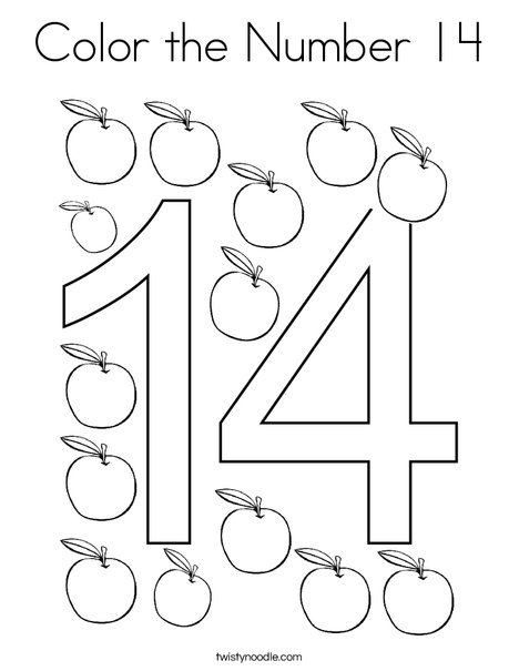 Color the Number 14 Coloring Page