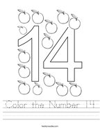 Color the Number 14 Handwriting Sheet