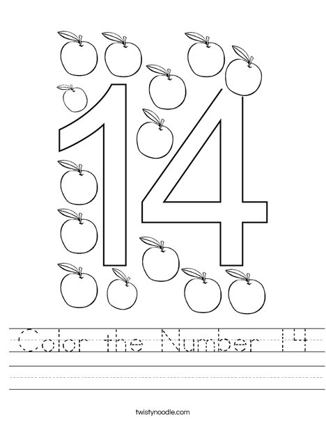 Color the Number 14 Worksheet