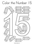 Color the Number 15 Coloring Page