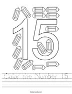 Color the Number 15 Handwriting Sheet