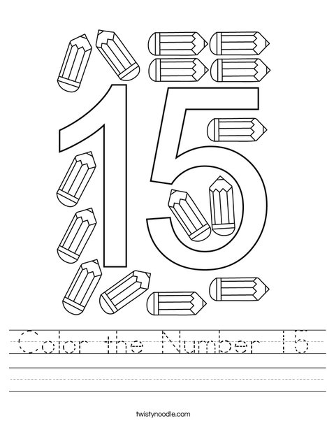 Color the Number 15 Worksheet