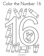 Color the Number 16 Coloring Page