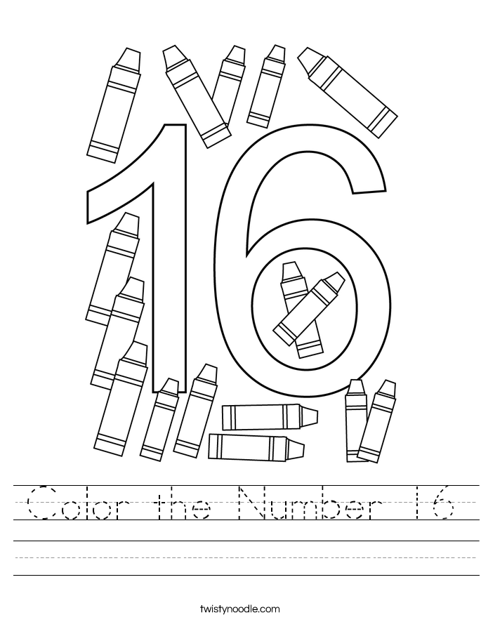 Color the Number 16 Worksheet