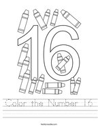 Color the Number 16 Handwriting Sheet