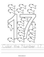 Color the Number 17 Handwriting Sheet
