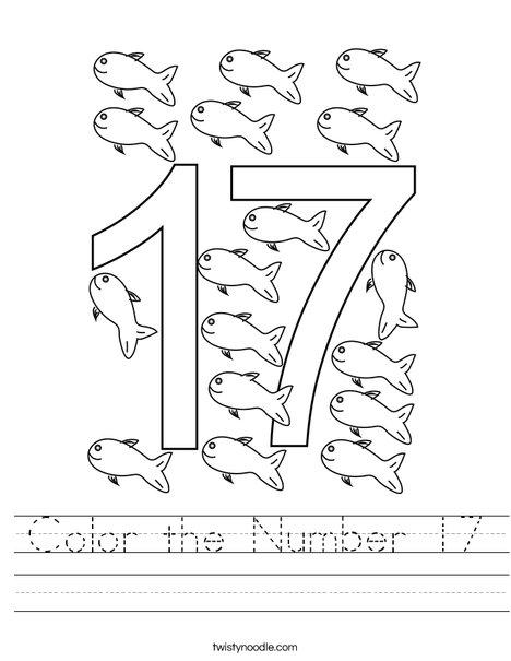 Color the Number 17 Worksheet