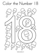 Color the Number 18 Coloring Page