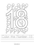 Color the Number 18 Worksheet