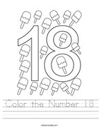 Color the Number 18 Handwriting Sheet