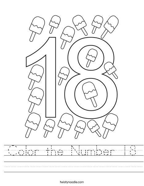 Color the  Number 18 Worksheet