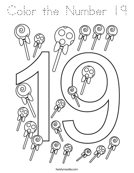 Color the Number 19 Coloring Page - Tracing - Twisty Noodle