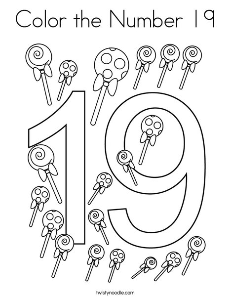 Color The Number 19 Coloring Page - Twisty Noodle