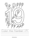 Color the Number 19 Worksheet