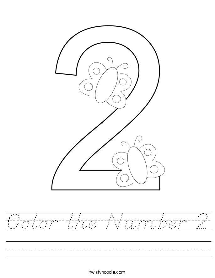 Color the Number 2 Worksheet