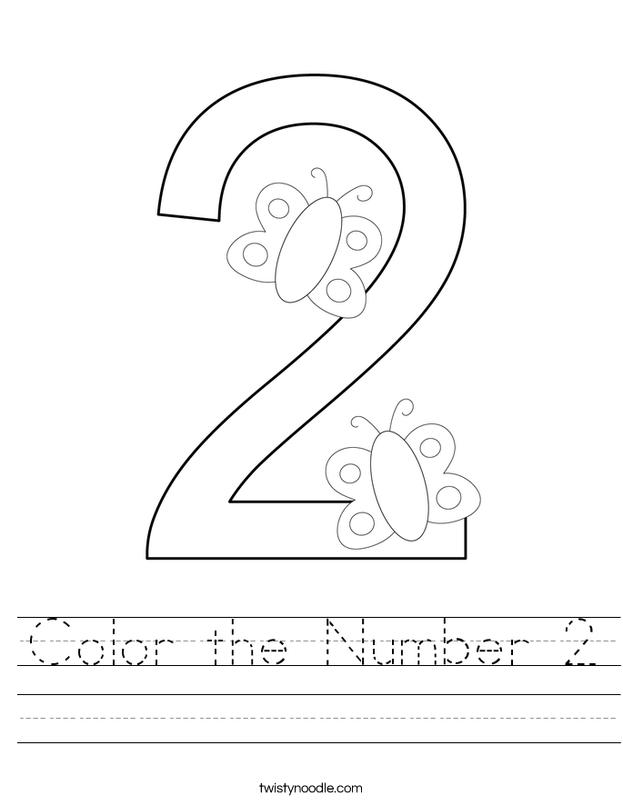 Color the Number 2 Worksheet