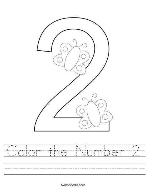 Color the Number 2 Worksheet - Twisty Noodle