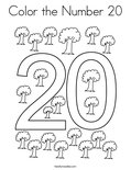 Color the Number 20 Coloring Page