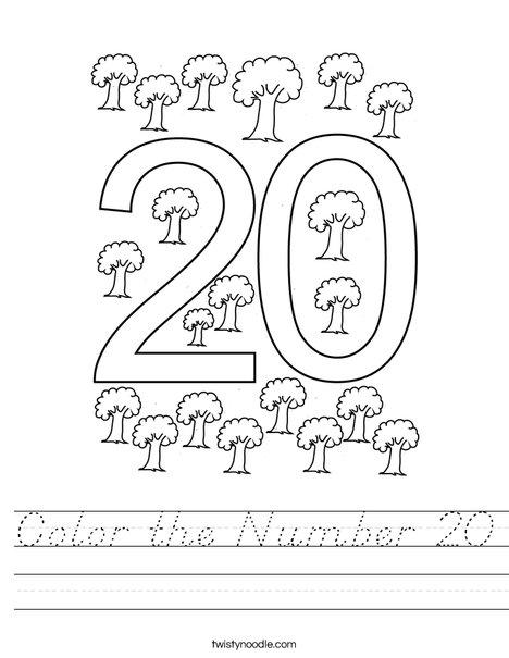 Color the Number 20 Worksheet