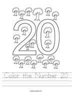 Color the Number 20 Handwriting Sheet