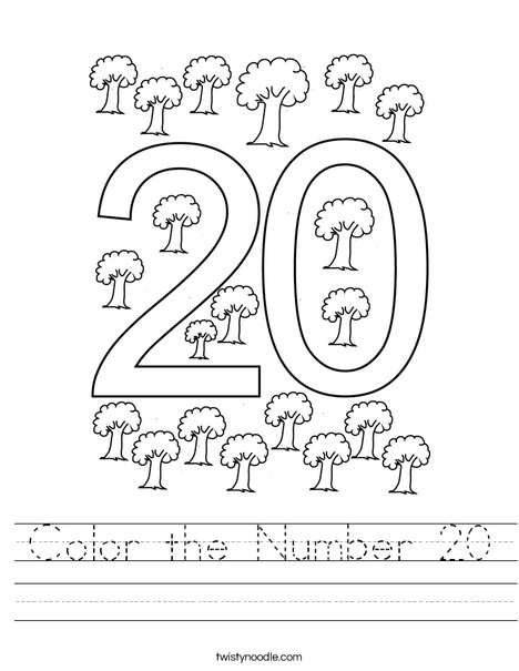Color the Number 20 Worksheet
