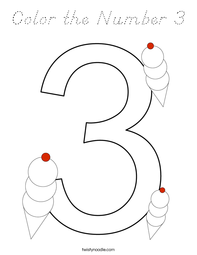 Color the Number 3 Coloring Page