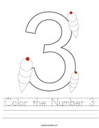 Color the Number 3 Handwriting Sheet