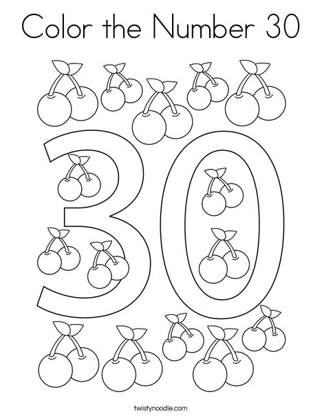 Color the Number 30 Coloring Page