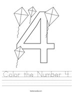 Color the Number 4 Handwriting Sheet