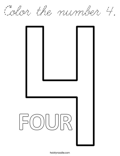Color the number 4. Coloring Page