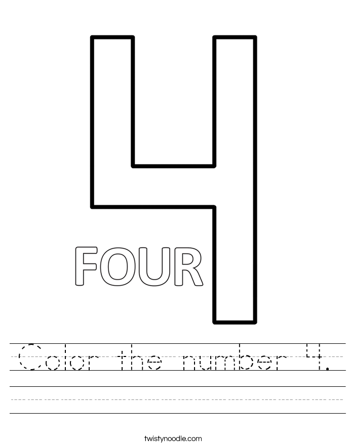 Color the number 4. Worksheet