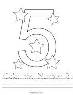 Color the Number 5 Handwriting Sheet