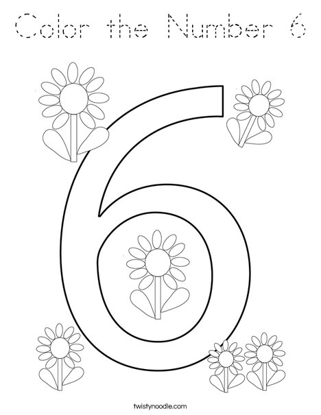 Color the Number 6 Coloring Page