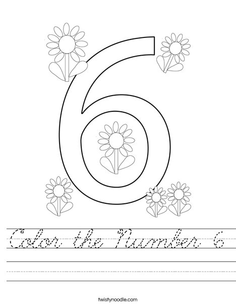 Color the Number 6 Worksheet