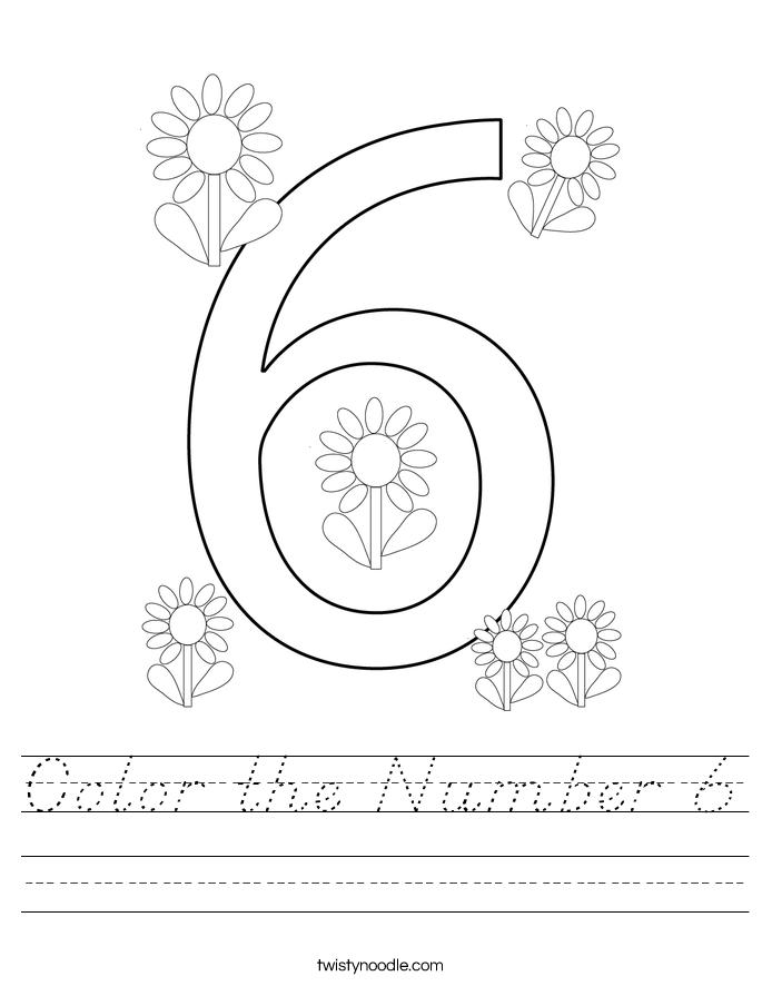 Color the Number 6 Worksheet