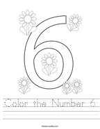 Color the Number 6 Handwriting Sheet