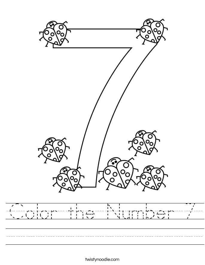 Color the Number 7 Worksheet