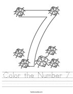 Color the Number 7 Handwriting Sheet