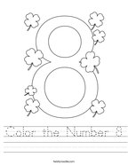 Color the Number 8 Handwriting Sheet