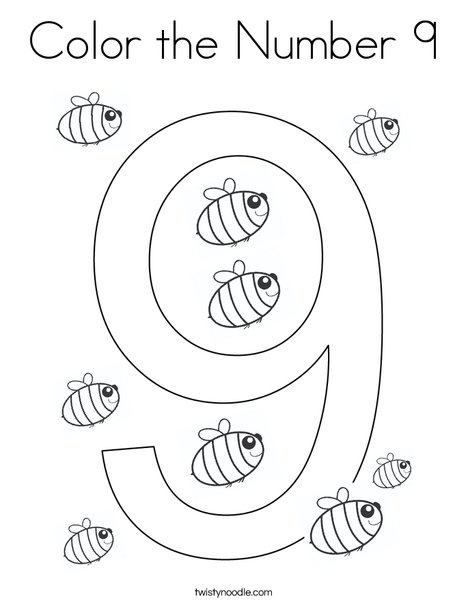 Color the Number 9 Coloring Page