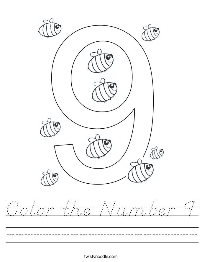 Color the Number 9 Worksheet