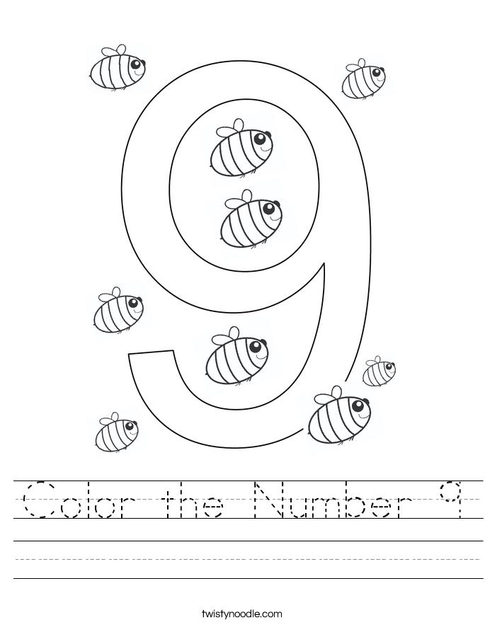 Color the Number 9 Worksheet