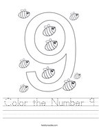 Color the Number 9 Handwriting Sheet