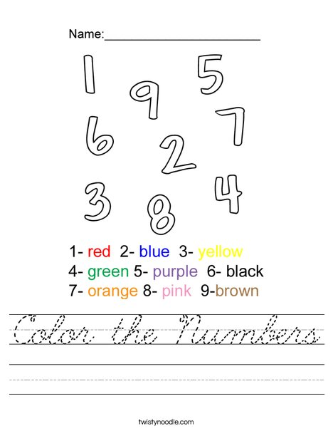 Color the Numbers Worksheet