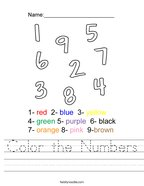 Color the Numbers Handwriting Sheet