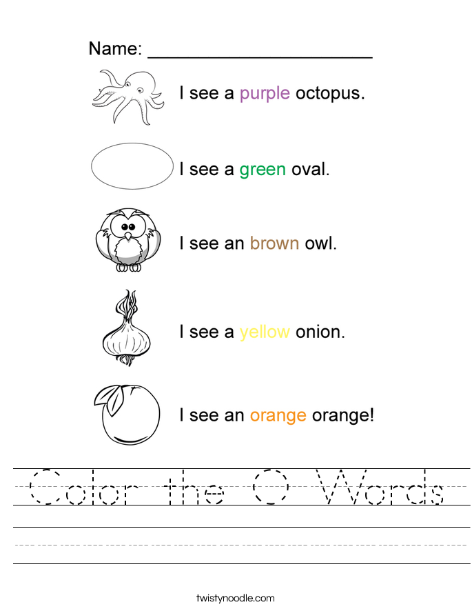 Color the O Words Worksheet