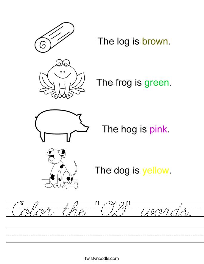 """Color the """"OG"""" words. Worksheet"""